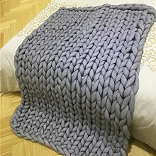 chunky Strickdecke werfen riesige Hand gestrickt weiche Häkeldecke Decke große flauschige warme Decke von yunhigh für Couch Sofa Bett Stuhl Wohnzimmer - grau
