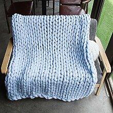 chunky Strickdecke werfen riesige Hand gestrickt weiche Häkeldecke Decke große flauschige warme Decke von yunhigh für Couch Sofa Bett Stuhl Wohnzimmer - hellblau