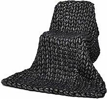 chunky Strickdecke werfen riesige Hand gestrickt weiche Häkeldecke Decke große flauschige warme Decke von yunhigh für Couch Sofa Bett Stuhl Wohnzimmer - schwarz