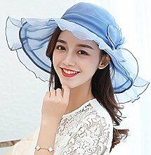 CHUNLAN Sonnenhüte Visier Hut Beige, Lila, Blau Schmetterlingsknoten Sonnenschutz UV-Schutz Schön Und Stilvoll Stilvoll ( Farbe : Blau )