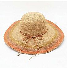 CHUNLAN Sonnenhüte Visier-Hut-bequeme und breathable orange Kante, orange-grüner Rand, roter Rand, blauer Rand-Sonnenschutz-UVschutz schöne Mode Stilvoll ( Farbe : B )