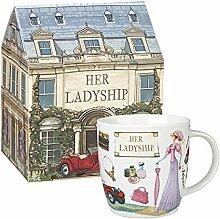"""Churchill China Becher """"Her Ladyship"""", Porzellanbecher mit handgezeichneten Motiven, 390 ml"""