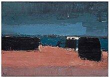 CHUTD Poster Abstrakte Strandszene Leinwand