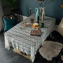 CHYOOO Tischdecke Polyester Weiße Spitze