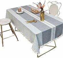 CHYOOO Tischdecken Tischdecke Streifen Mit Quaste