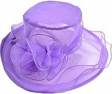 Chytaii Damen Sonnenhüte Damen Sommer Strand-Hut Anti-UV Sonnenschutz Hut Wide Brim Bowler Hut aus Organza mit eleganten Blumen für Damen Urlaub Hochzei