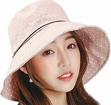 Chytaii Damen Sonnenhüte Mädchen Strand Hut Sonnenschutz Hut aus Baumwolle mit Punkte Bilder und Lederband für Damen Mädchen