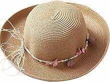Chytaii Damen Sonnenhut Damen Strand Hut Wide Brim Dome Stroh Hut Damen Sonnenschutz Hut für Damen Urlaub Reise Party