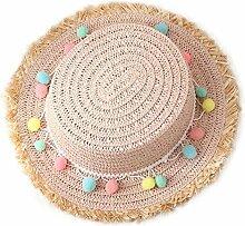 Chytaii Kinder Sonnenhüte Anti-UV Strand Hut Kinder Sonnenschutz Hut Kinder Zylinder mit Plüschkugel für Kinder Urlaub Reise Party