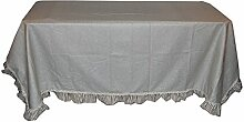 cielle Möbel Shabby Fleckabweisende Tischdecke rechteckig für 12Personen Uni, Baumwolle, Seil, 140x 240cm