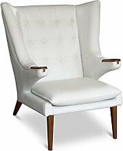 Cigar Lounge Ohrensessel Fernsehsessel Armlehnsessel Leder Sessel. Abbildung in Leder Weiß mit Wallnuss Holz.