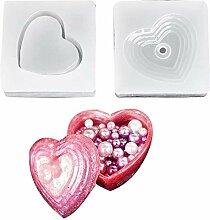 Cikuso DIY Herz Formen Silikon Aufbewahrungs Box