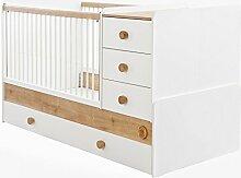 Cilek NATURA BABY Babybett XL mitwachsend Kinderbett Bett Weiß / Natur, Matratze:ohne