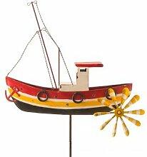 CIM Metall Windrad - Fischerboot - wetterfest, mit