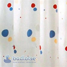 CINDY Duschvorhang PEVA 180 x 200 cm weiß/gelb/blau/rot/grün Punkte Kreise