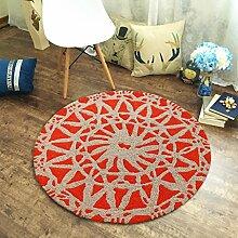 Circular Teppich Schlafzimmer Wohnzimmer einfache Computer Stuhl Bettwäsche Matten ( Farbe : Rot , größe : 90 cm )