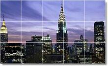 City Bild Badezimmer Fliesen Wand C204. 91,4x 152,4cm mit (15) 12x 12Keramik Fliesen.