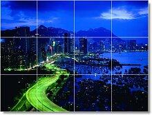 City Szene Badezimmer Fliesen Wand C052. 61x 81,3cm mit (12) 8x 8Keramik Fliesen.