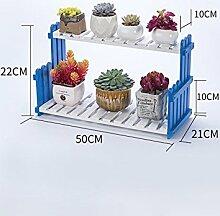 CivilWeaEU- Massivholz Blumenregal Wohnzimmer Balkon Boden Blumentöpfe indoor einfache Pflanze zu lagern -Regal ( Farbe : Blau und weiß , größe : 50*22*21cm )