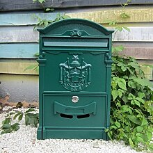 CJH Europäische Landhaus-Briefkasten-Retro- Briefkasten-Wand mit Schloss-kreativem Garten-im Freien an der Wand befestigtem Regenwasser-Briefkasten