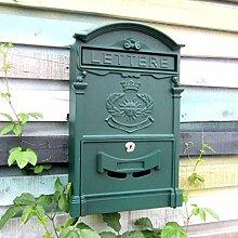 CJH Europäische Mailbox Villa Mailbox Outdoor Kreative Eisen Lock Wand Retro Post Wasserdichte Große Kiosk (Color : Shaven Green)