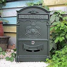 CJH Europäische Mailbox Villa Mailbox Outdoor Kreative Eisen Lock Wand Retro Post Wasserdichte Große Kiosk Dunkelgrün