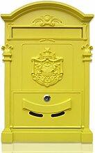CJH Europäische Villa Mailbox Außenwand Schmiedeeisen Mailbox mit Lock Mailbox Retro Zeitung Box Gelb