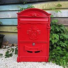 CJH Europäische Villa Mailbox Wand Wand Garten Zeitung Box Retro Brief Box Wand im Freien Retro wasserdichte Mailbox ro