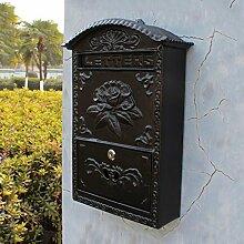 CJH Schwarze an der Wand befestigte europäische Garten-Landhaus-Hauptlieferungs-Blumen-Blüten-Briefkasten-Briefkasten