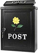 CJH Sonnenblume Europäischen Villa Mailbox Outdoor Mail Post Regen Große Große Gartenwand Wasserdichte Kreative Briefkasten Schwarz