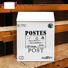 CJH Suggestion Box Zinn Regendichte Kontinental Wasserdichte Postbox Kreative Briefkastenwand Außen Postfach Pastoralen Newsletter Weiß