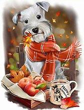 CJJYS Herbst schal Hund Apple DIY Diamant malerei
