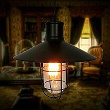 CJSHV Pendelleuchten Die Amerikanische Industrielle Kreative Vintage Schmiedeeiserne Bar Lampe Mit Glas Schatten Kleinen Käfig Bar Café Kronleuchter