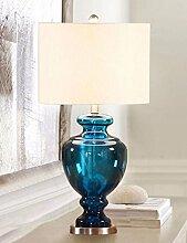 CJSHV-schlafzimmer, nachttisch, lampe, schlafzimmer, nachttisch, lampe, kreativen modernen lampe, wohnzimmer, dekoration, blaues glas