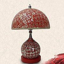 CJSHV-Tischlampe Europäischen Stil Dekorative Lampe Schlafzimmer Mit Lampe Rote Lampe Glasmosaik Kreative Mode,A