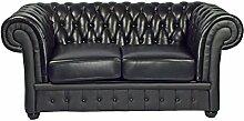 Classic 2 Sitzer Chesterfield Sofa schwarz Leder