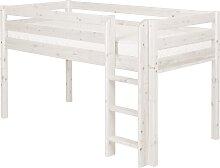 Classic - Halbhohes Bett mit Senkrechter Leiter - 190 cm - Weiß