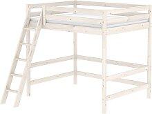 Classic - Hochbett mit schräger Leiter -  140x 200 cm - Weiß