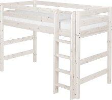 Classic - Mittelhohes Bett mit Leiter - 190 cm - Weiß