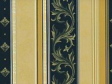 Classic Möbelstoff Versailles mit Fleckschutz Farbe Bleu (blau, dunkelblau, champagner, goldgelb) - Flachgewebe klassisch (Streifen, Ranke, Raute, Ornament), Polsterstoff, Stoff, Bezugsstoff, Eckbank, Couch, Sessel, Hussen, Kissen