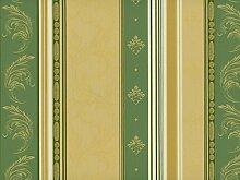 Classic Möbelstoff Versailles mit Fleckschutz Farbe Vert (grün, champagner, goldgelb) - Flachgewebe klassisch (Streifen, Ranke, Raute, Ornament), Polsterstoff, Stoff, Bezugsstoff, Eckbank, Couch, Sessel, Hussen, Kissen