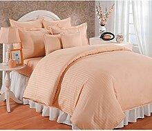 Classy 3-teiliges Bettbezug Set + 1Spannbetttuch Marken 350TC Pfirsich Stripe UK Small Single lang 100% ägyptische Baumwolle {12Zoll Tief}–von TRP Blatt–B18