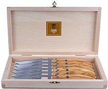 Claude Dozorme Steakmesser 6er Set, Olivenholz,