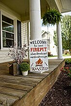 Claude16Poe Holzschild Welcome to Our firerepit