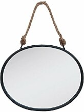 Clayre & Eef 52S092 Spiegel Wandspiegel oval schwarz ca. 50 x 4 x 40 cm