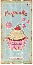Clayre & Eef 5H0139 Deko Dekoration Schild Textschild Cupcake ca. 25 x 50 cm