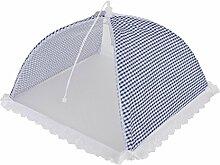 Clayre & Eef 60982BL Fliegenhaube Abdeckhaube Fliegennetz Insektenschutz Netz weiß- blau karier