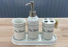 Clayre & Eef 62474 4-teil. Badezimmer- Set Keramik creme- weiß Le Bain Becher Seifenspender Table