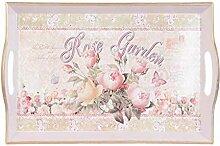 Clayre & Eef 63315 Tablett Serviertablett Rose Garden ca. 43 x 27 x 4 cm
