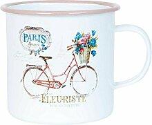 Clayre & Eef 63337 Tasse Becher Kaffeetasse Teetasse PARIS forever ca. Ø 11 x 10 cm
